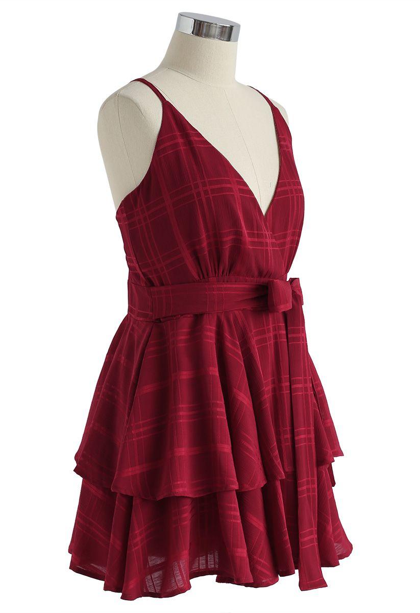 Dare To Dream Cross Back Cami Mini Dress in Red