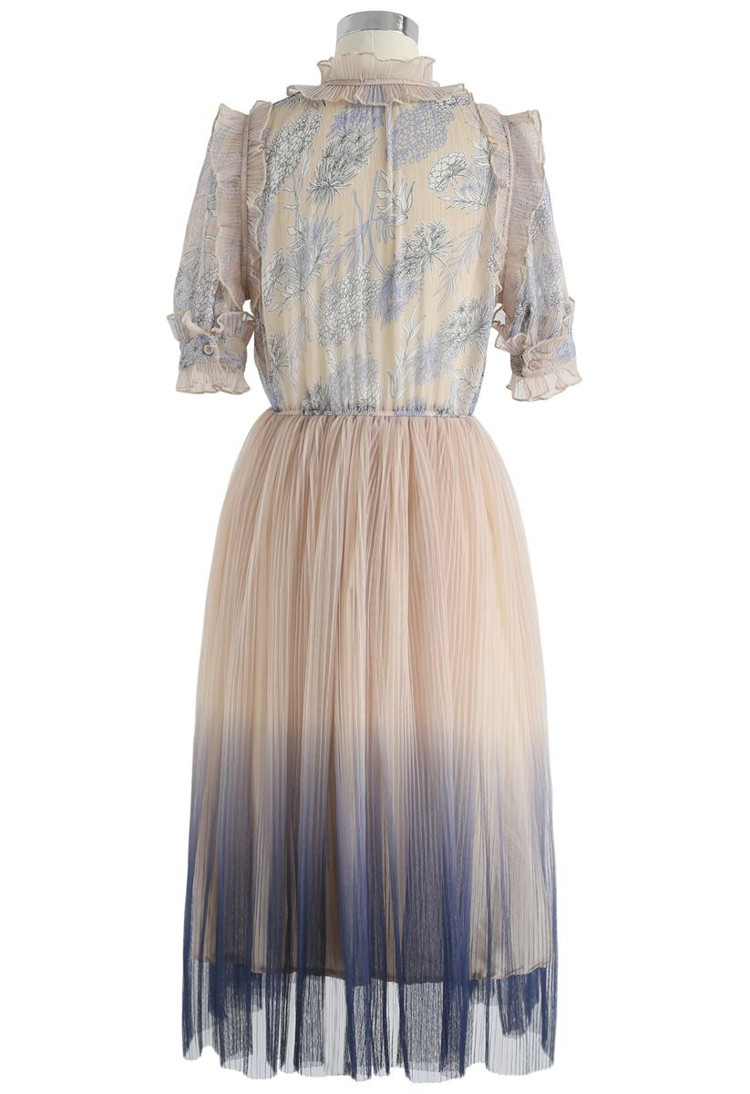 We Know It All Gradient Pleated Mesh Tulle Dress