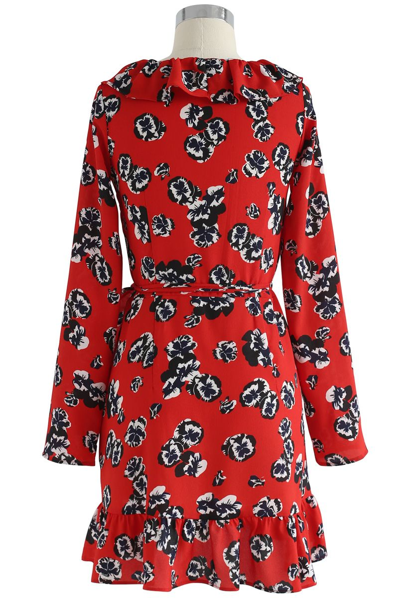 Deep Dream of Floral Wrap Ruffle Dress in Red