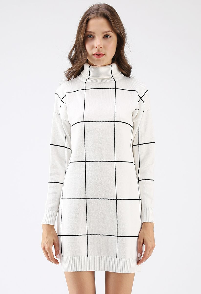Warm Welcome Grid Turtleneck Sweater Dress