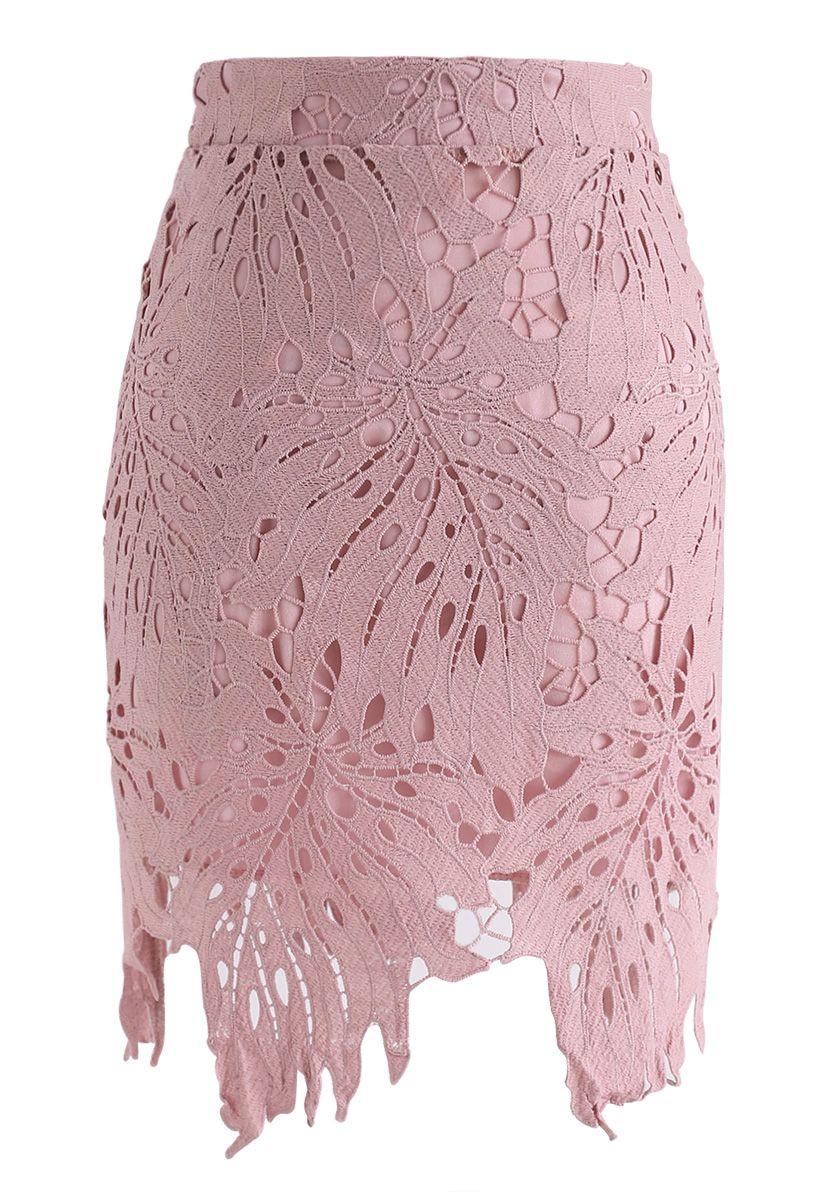 Leaf Around Crochet Bud Skirt in Pink