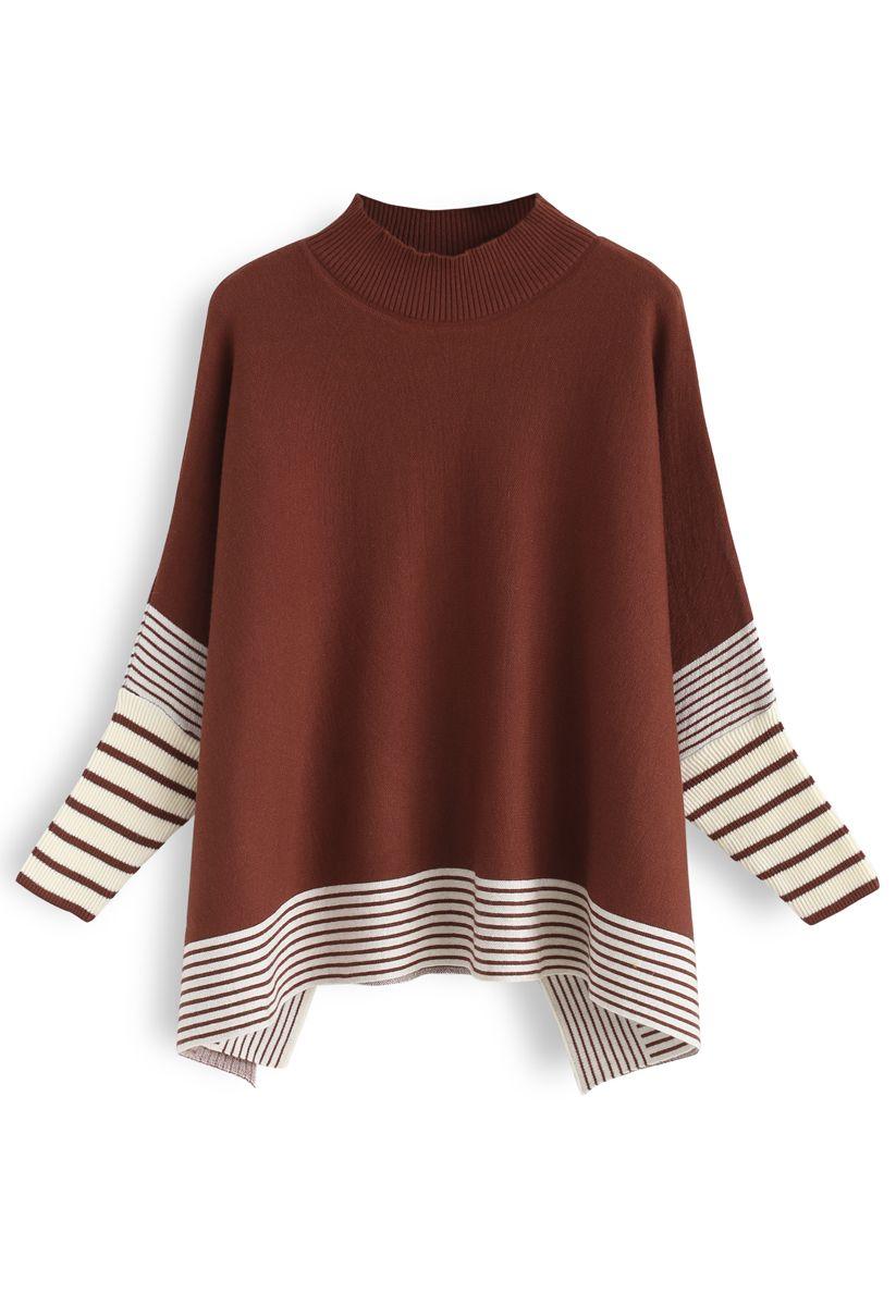 Lie in Caramel Fields Striped Oversize Knit Cape Sweater
