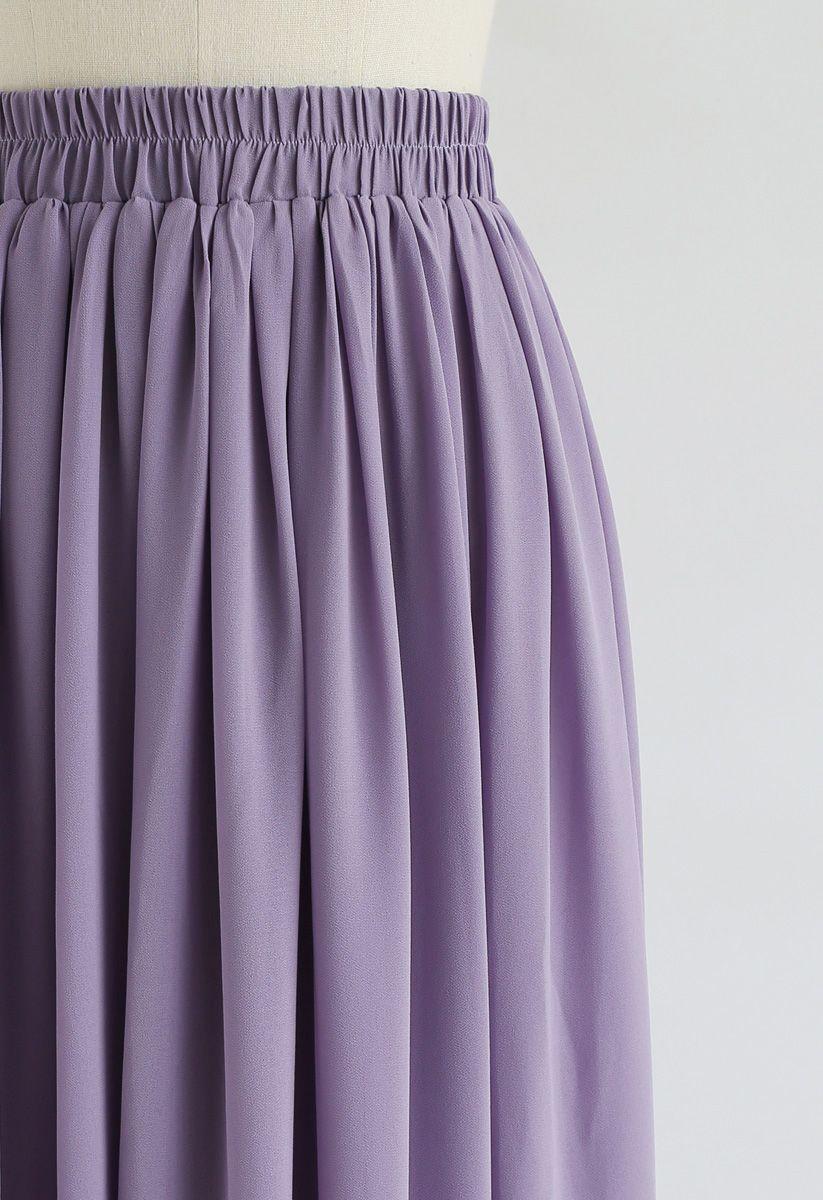 Purple Pleated Maxi Skirt