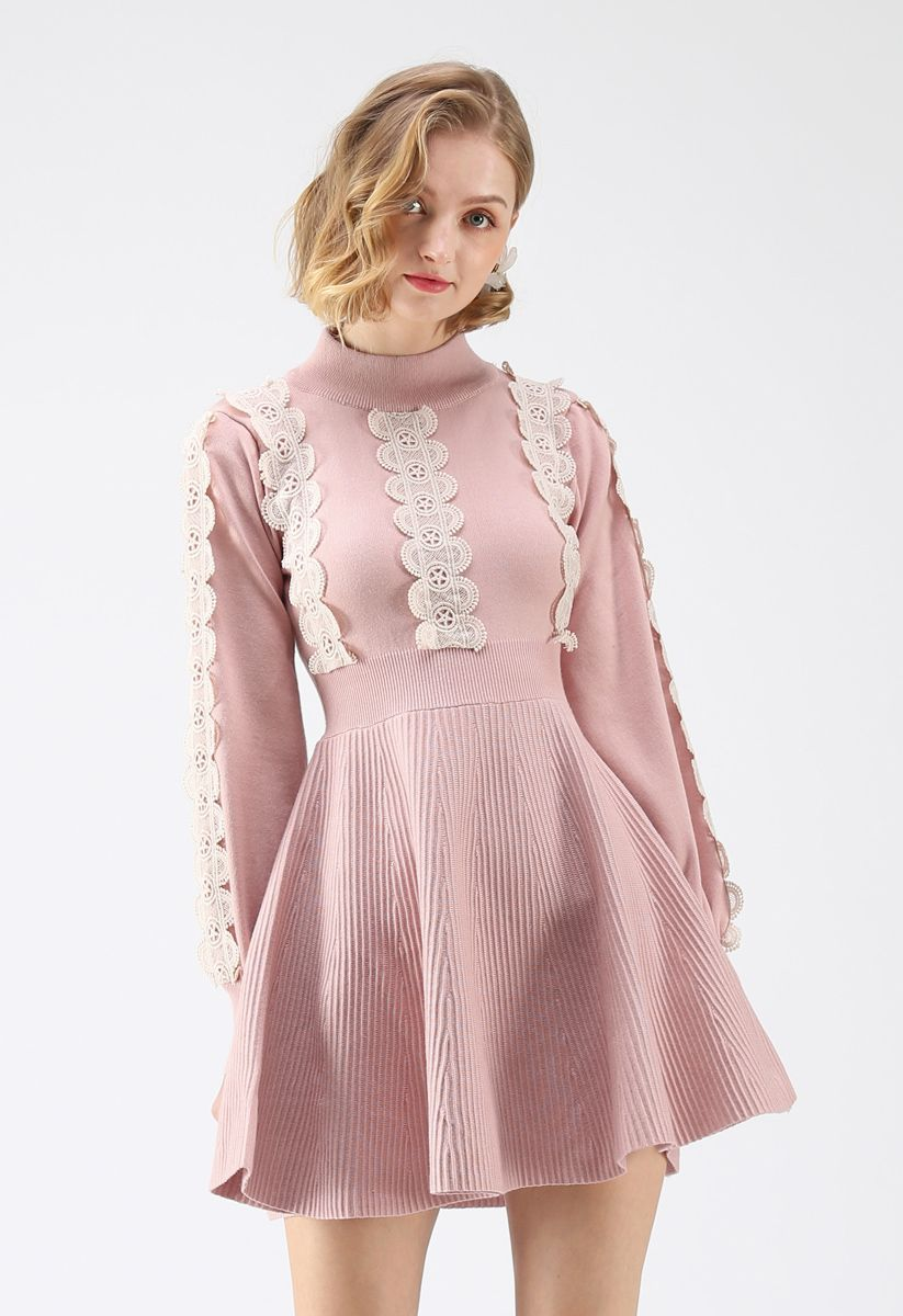 Amiable Attraction Crochet A-Lined Knit Dress in Pink
