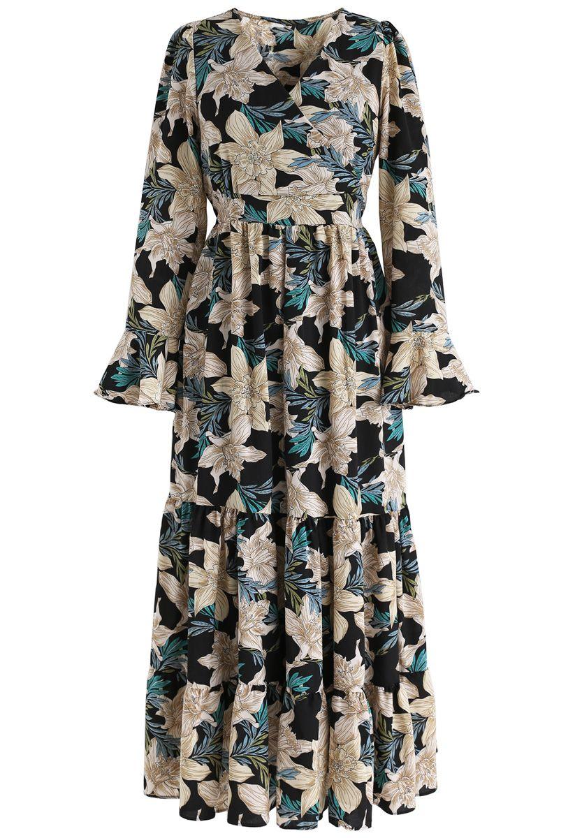 Fragrant Lily Wrap Floral Maxi Dress