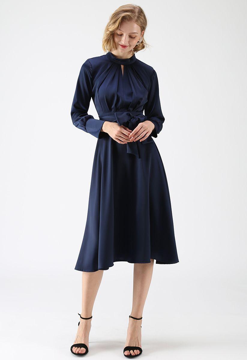 Grab the Spotlight Bowknot Satin Dress in Navy