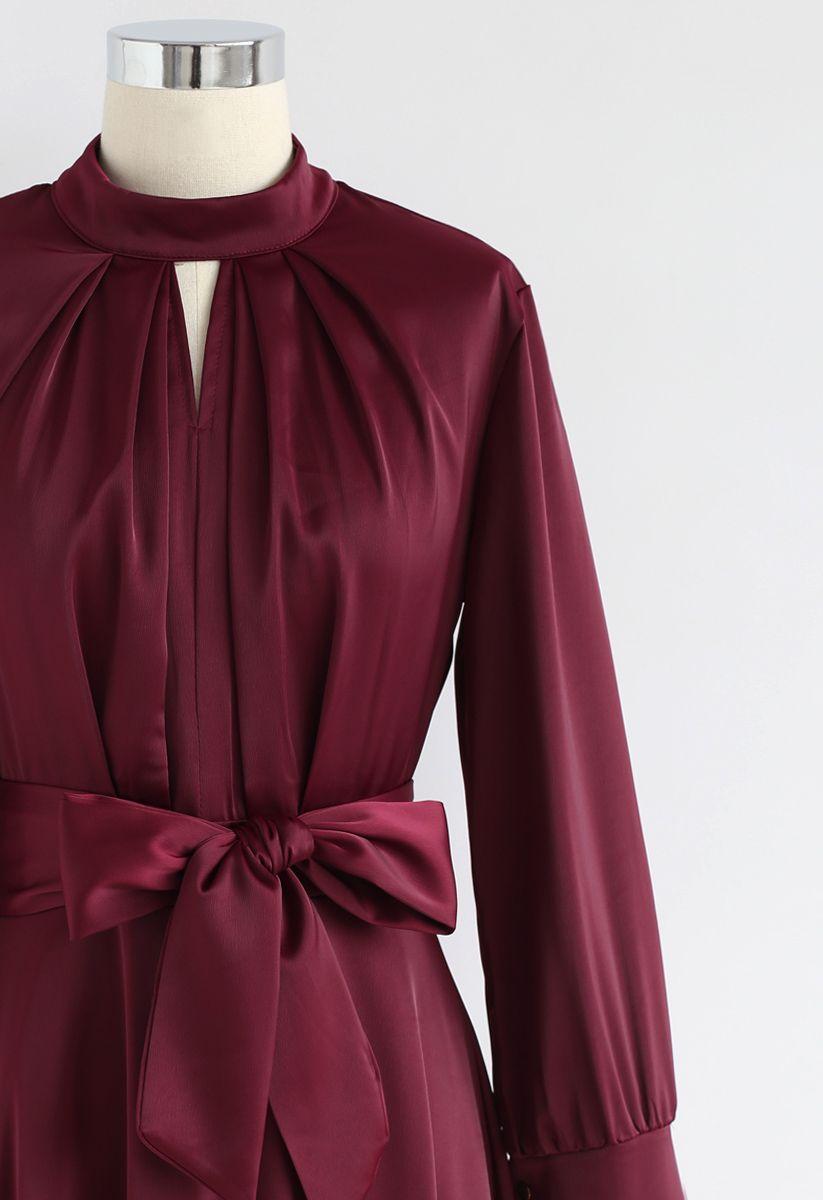 Grab the Spotlight Bowknot Satin Dress in Wine