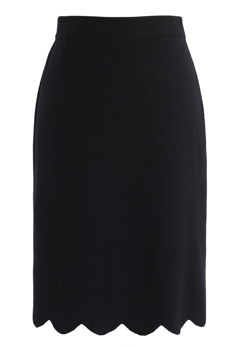 Passing Dreams Knit Top and Skirt Set in Black