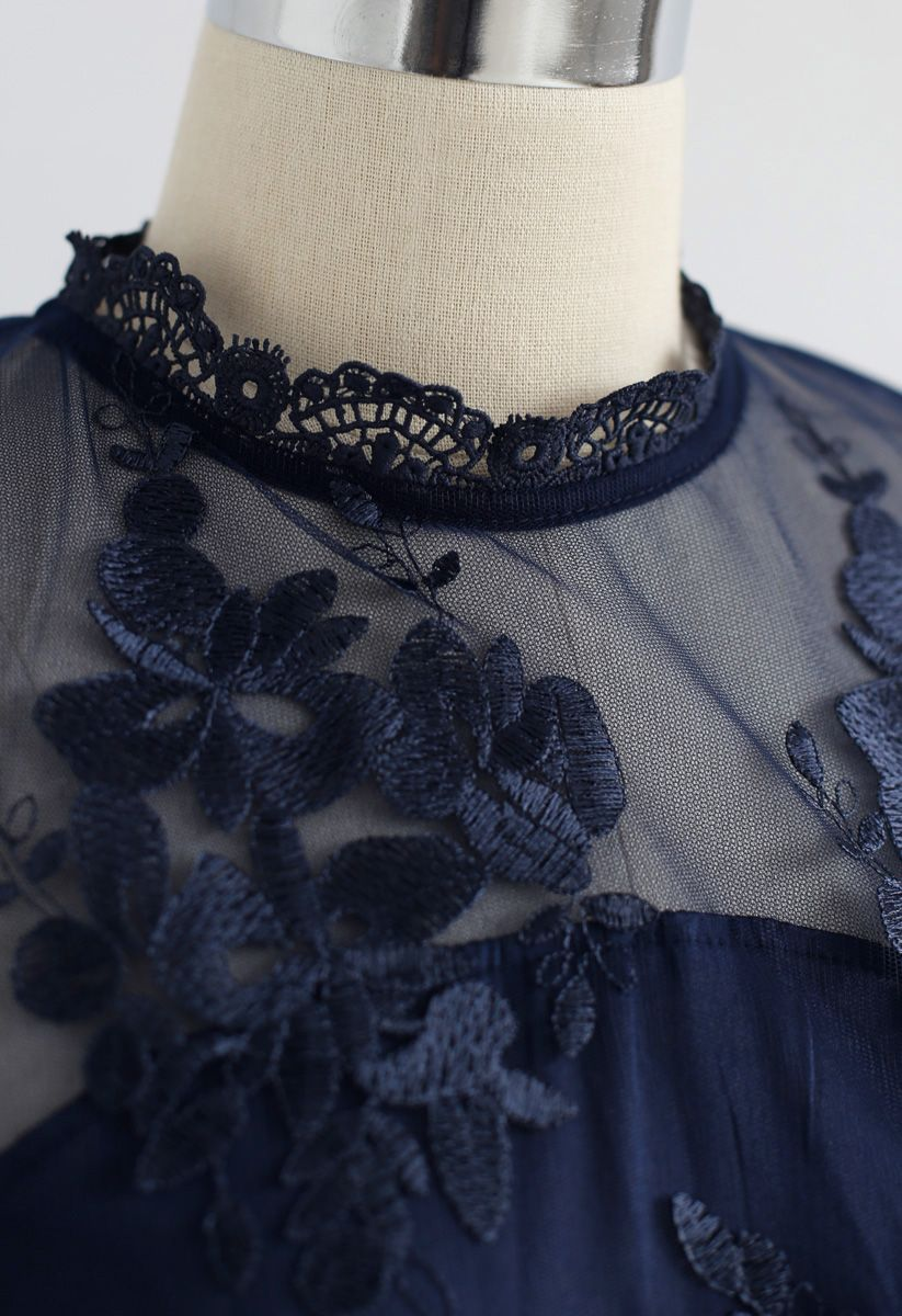Cheery Moment Embroidered Mesh Chiffon Dress in Navy