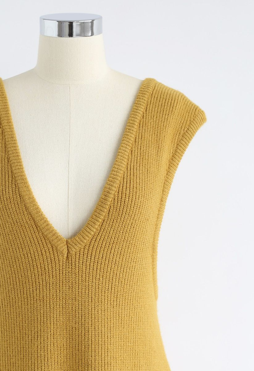 For the Love Sleeveless Ribbed Knit Dress in Mustard