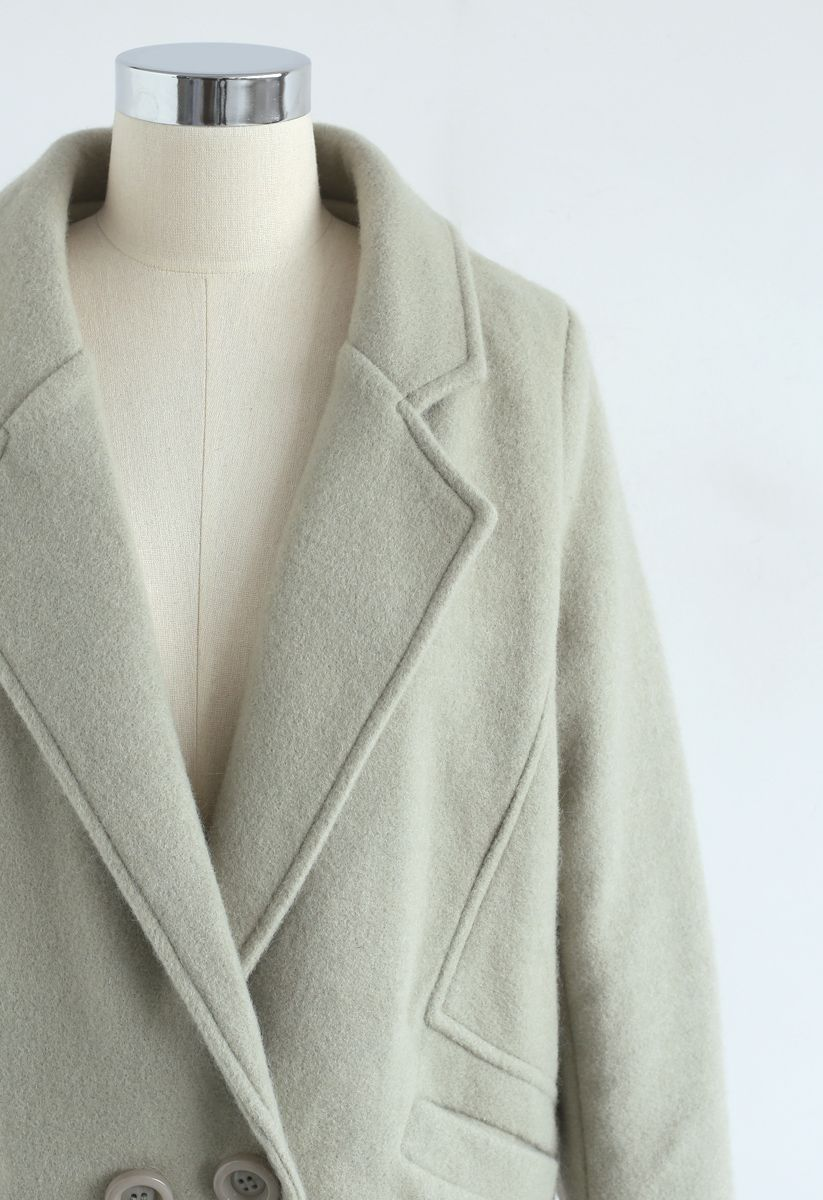 Take Up the Challenge Wool-Blend Coat in Pea Green