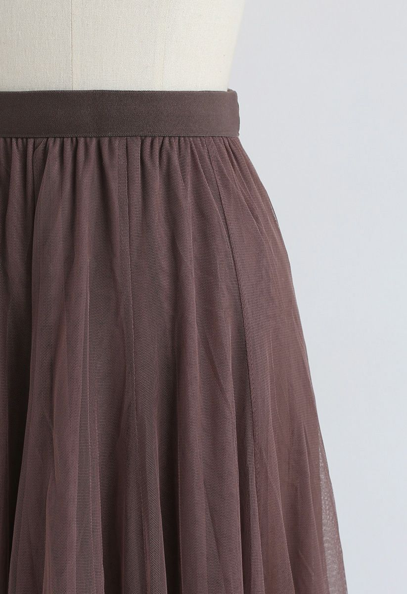 My Secret Weapon Tulle Maxi Skirt in Brown