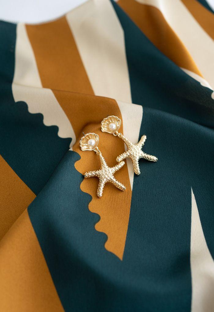 Gold Starfish Shell Pearl Drop Earrings