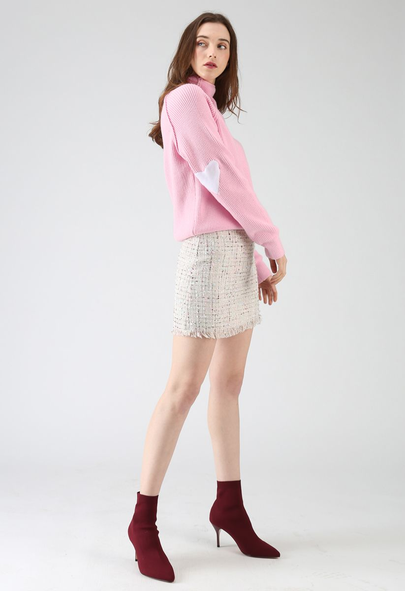 Heart and Soul Patched Knit Sweater in Pink