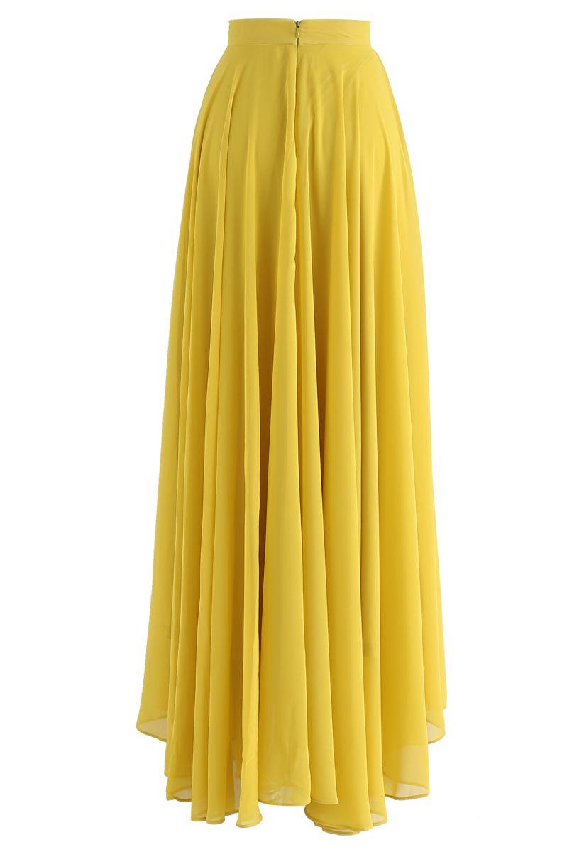 Timeless Favorite Chiffon Maxi Skirt in Mustard