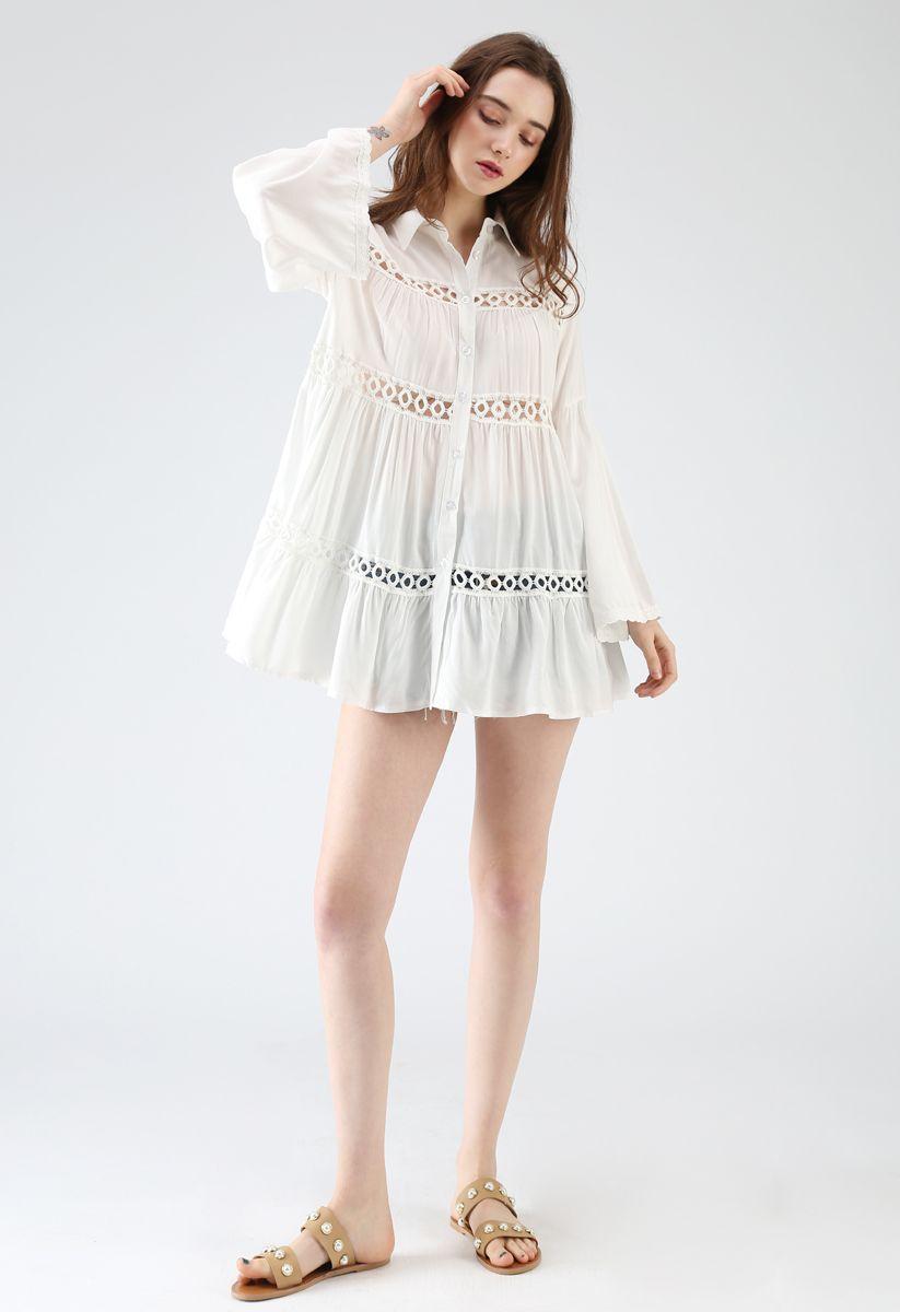 Hear the Breeze Crochet Cutout Tunic Shirt