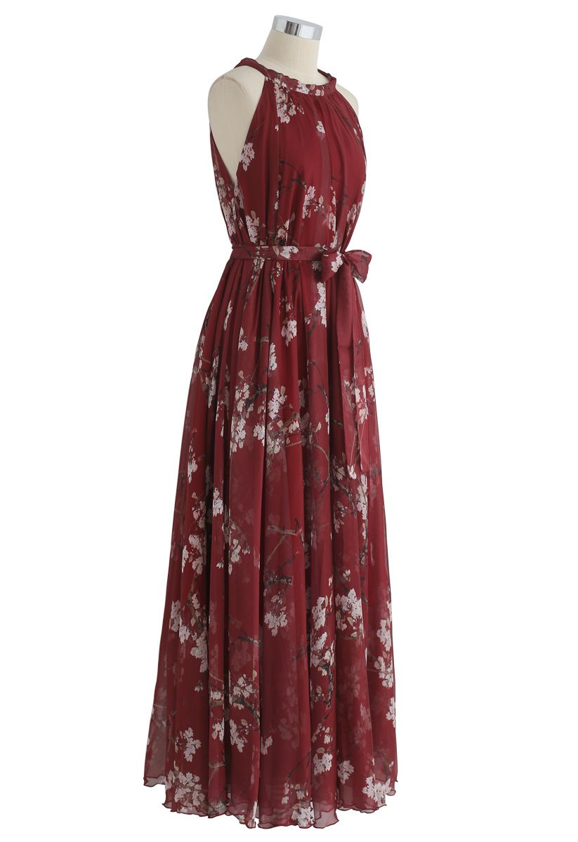 Plum Blossom Watercolor Maxi Slip Dress in Wine