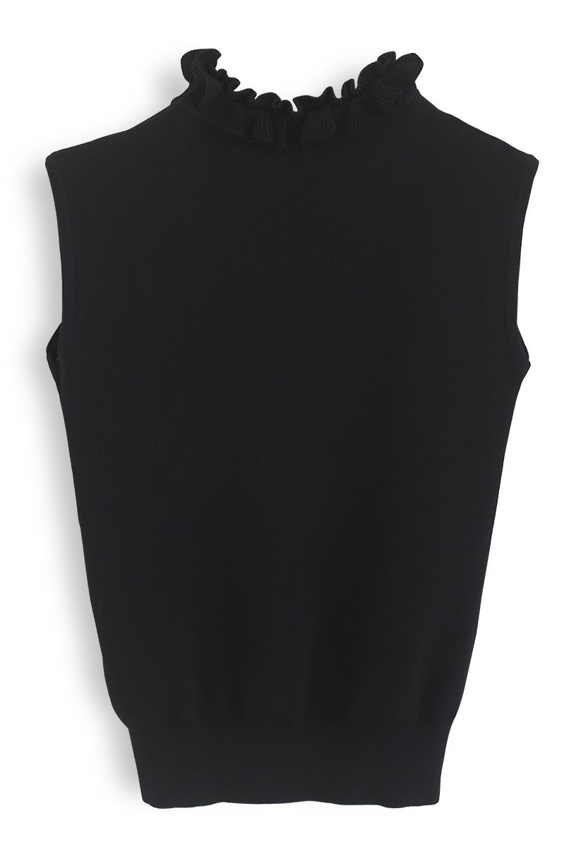 Ruffle My Heart Sleeveless Knit Top in Black