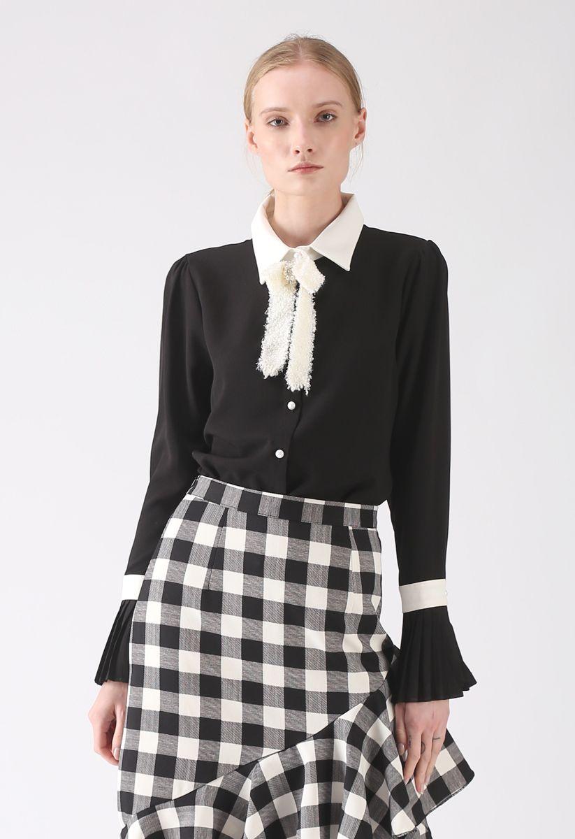 New Light of Today Chiffon Shirt in Black