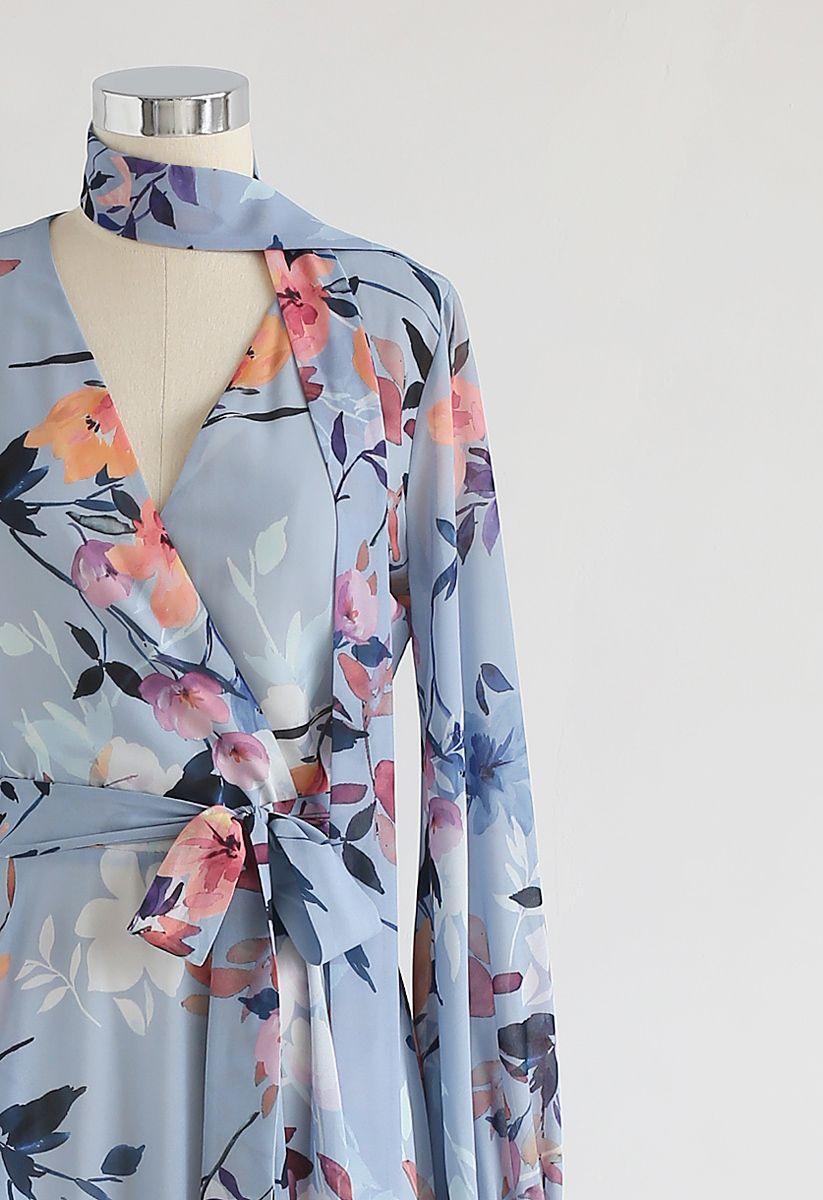 Floral Endearment Chiffon Maxi Dress in Blue
