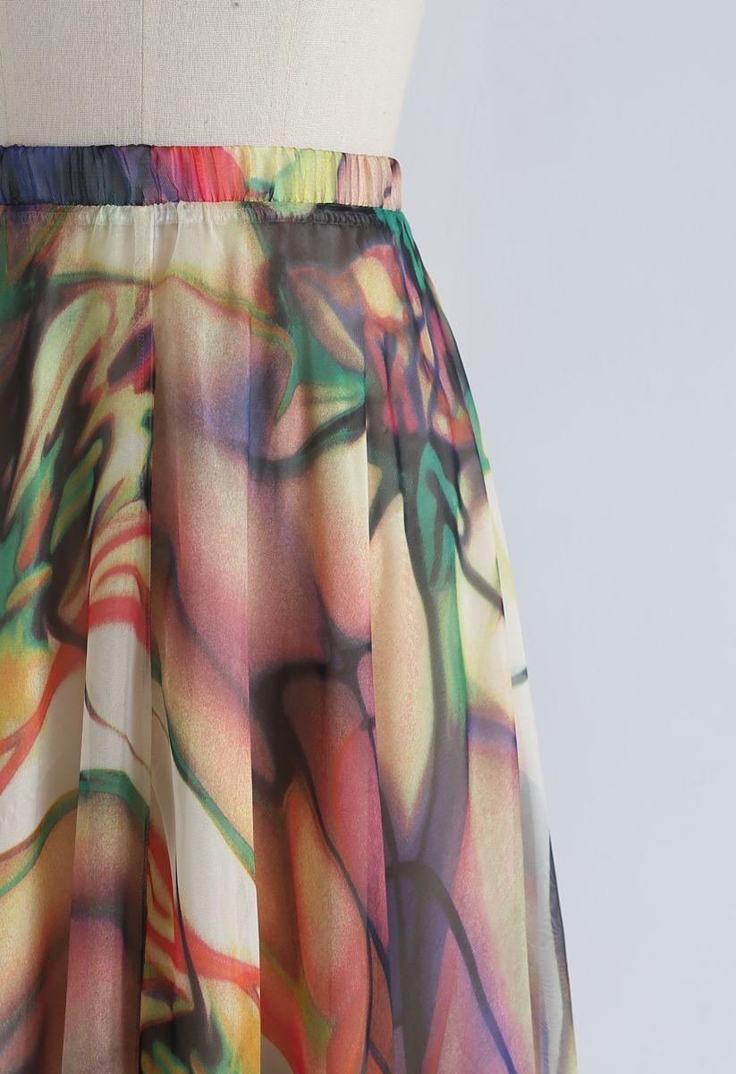 Richly Tinting Watercolor Maxi Skirt