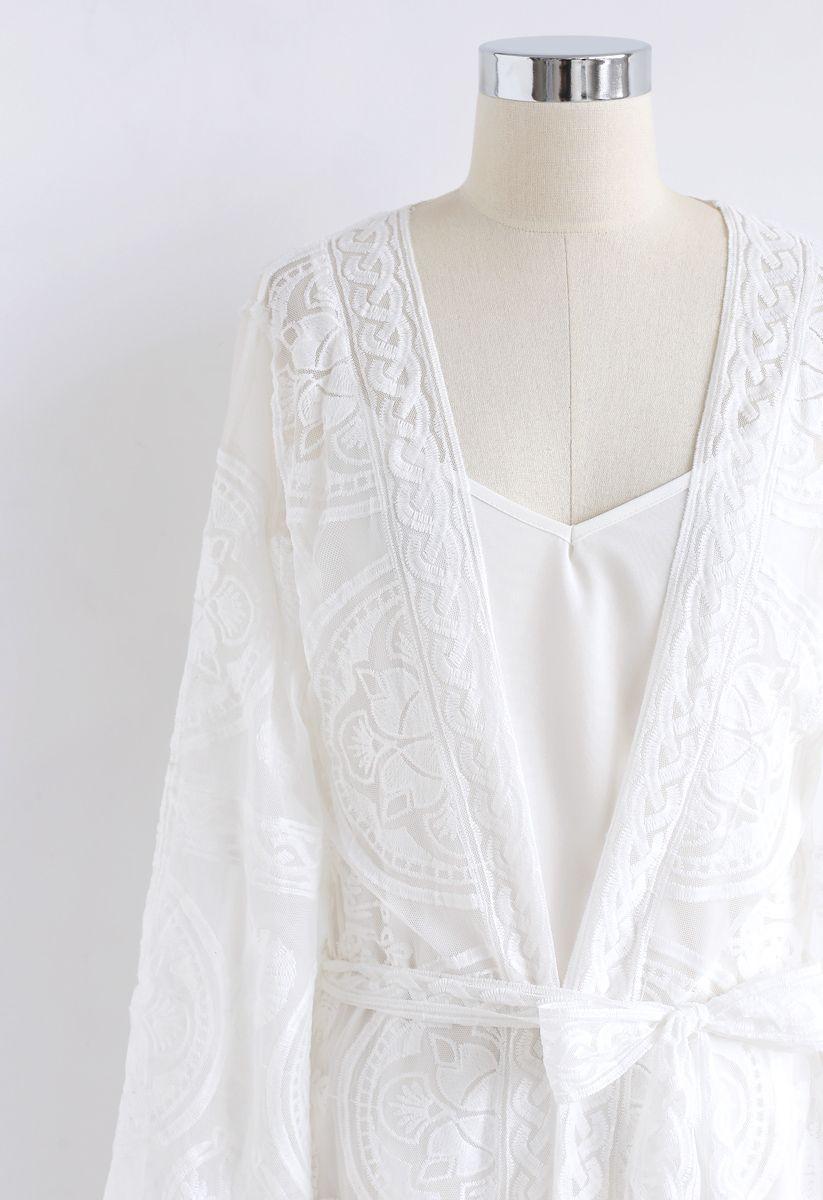 Summer Sunshine Embroidered Mesh Longline Kimono