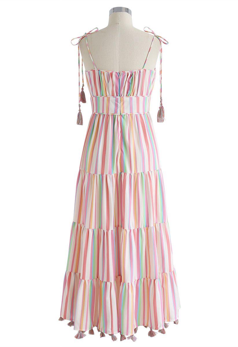 Rainbow Candies Stripes Maxi Dress