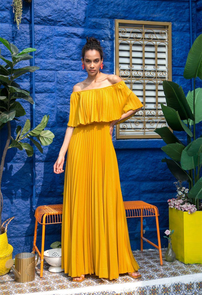 Dancing Till Dawn Off-Shoulder Pleated Maxi Dress in Mustard