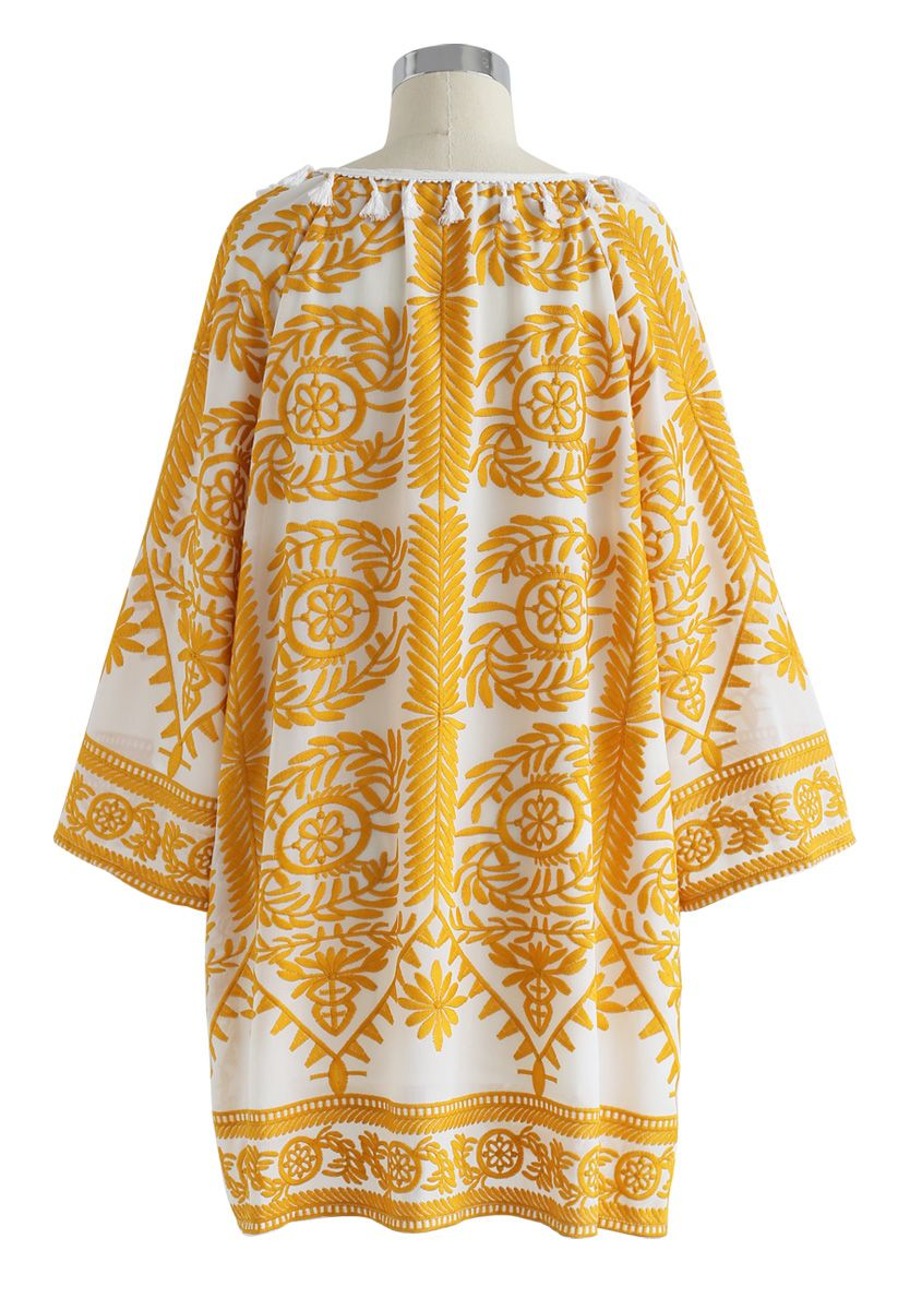 Touch The Skyline Boho Embroidered Dress in Yellow