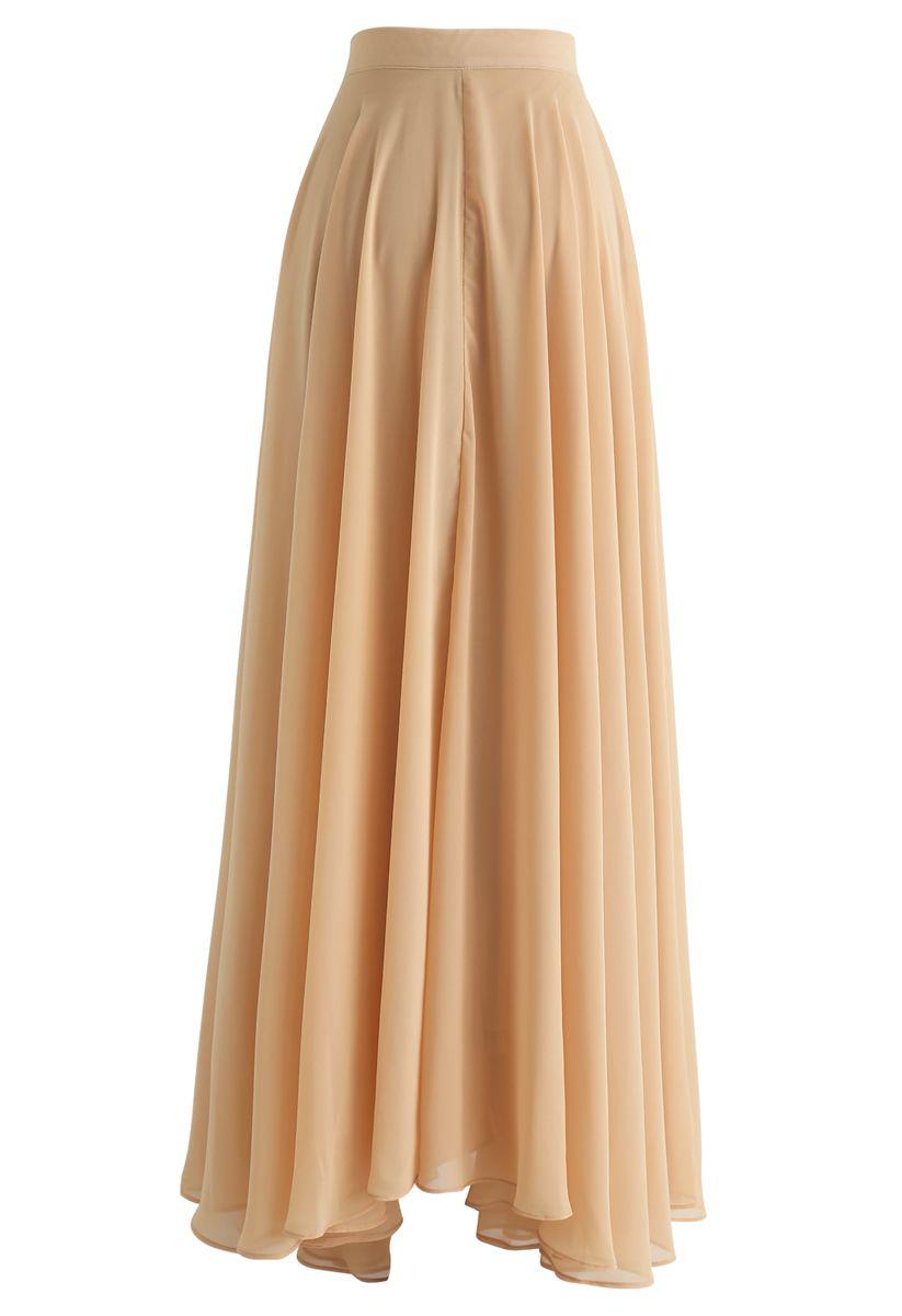 Timeless Favorite Chiffon Maxi Skirt in Light Tan