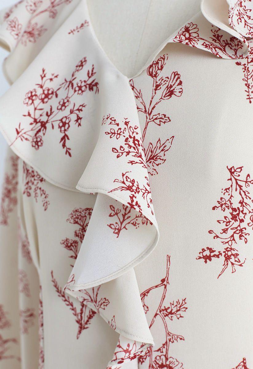 Plants Aplenty Printed Chiffon Dress in Cream