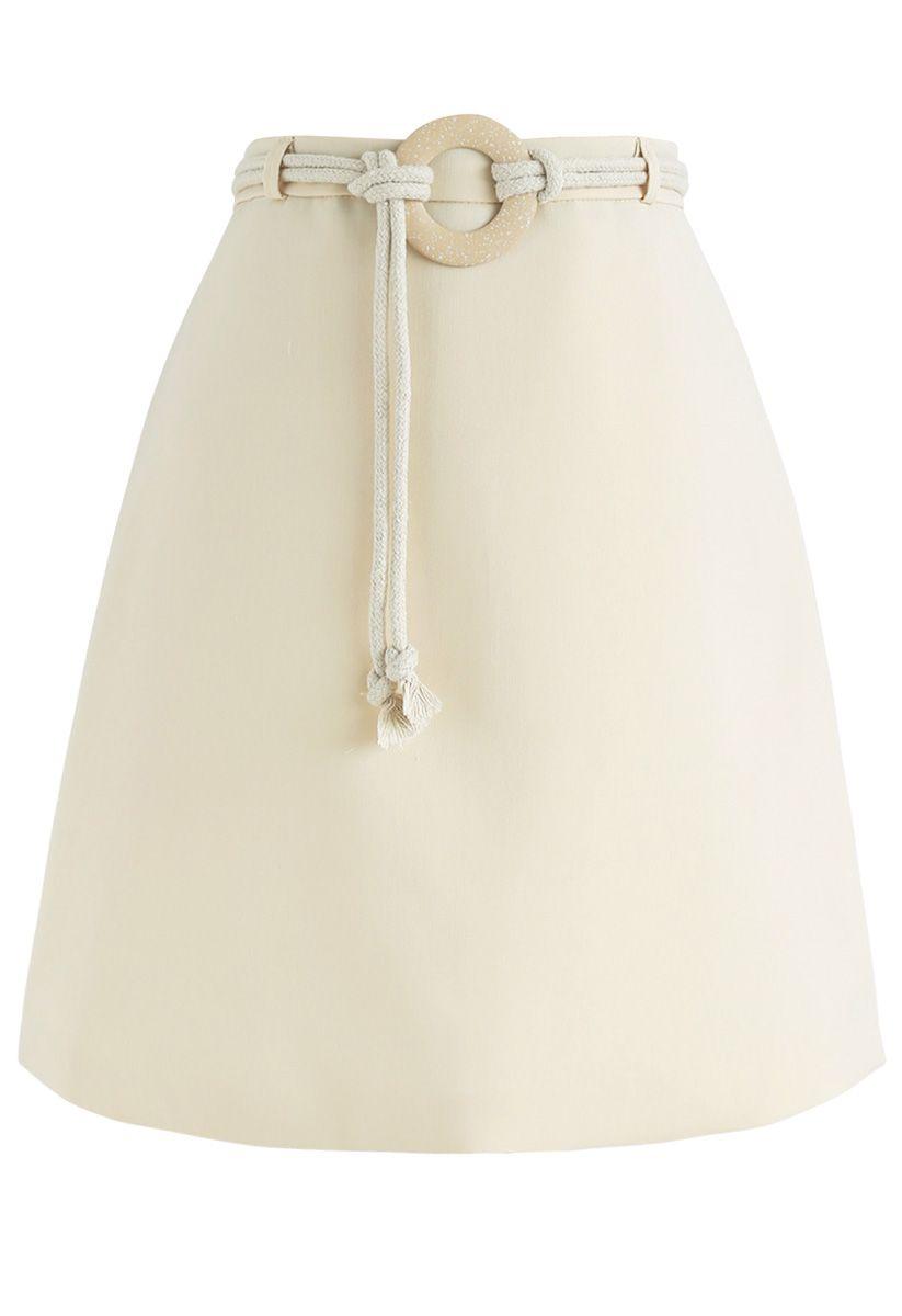 No One Like You Mini Bud Skirt in Cream