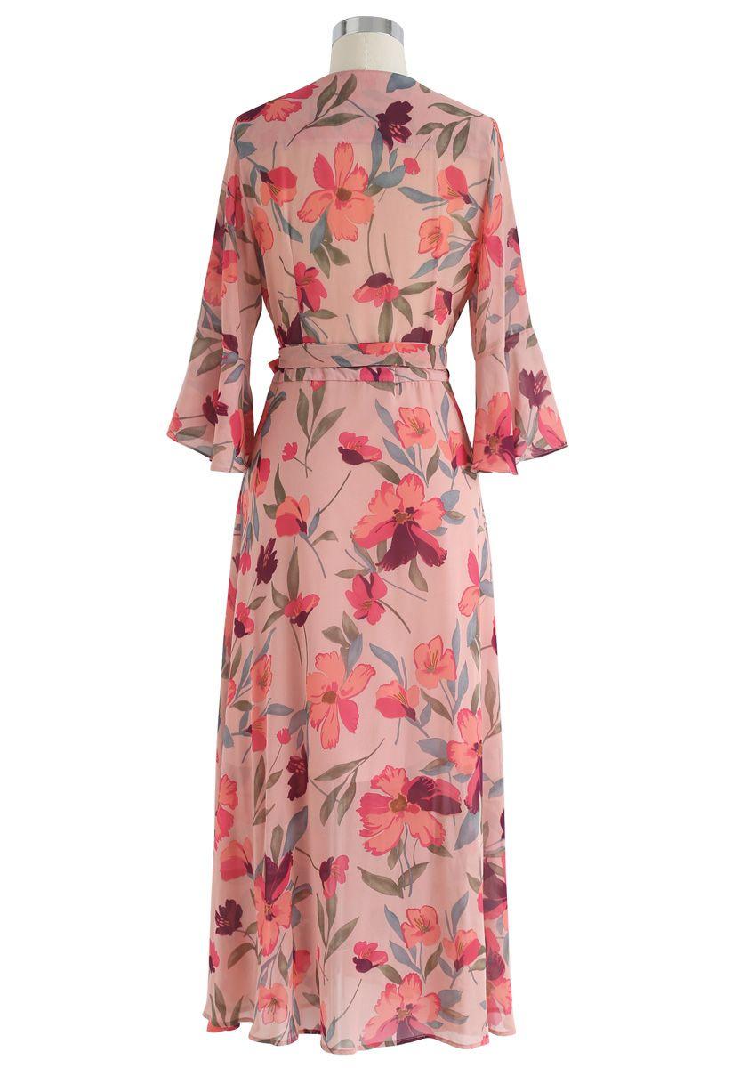 A Million Floral Dreams Print Chiffon Dress in Blush