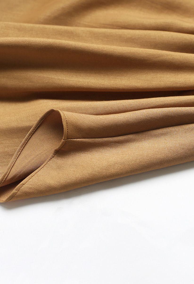 Passionate Latin Asymmetric Cami Dress in Tan