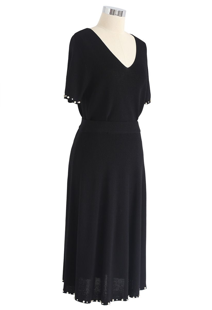 Classic Sophistication Knit Top and Skirt Set in Black