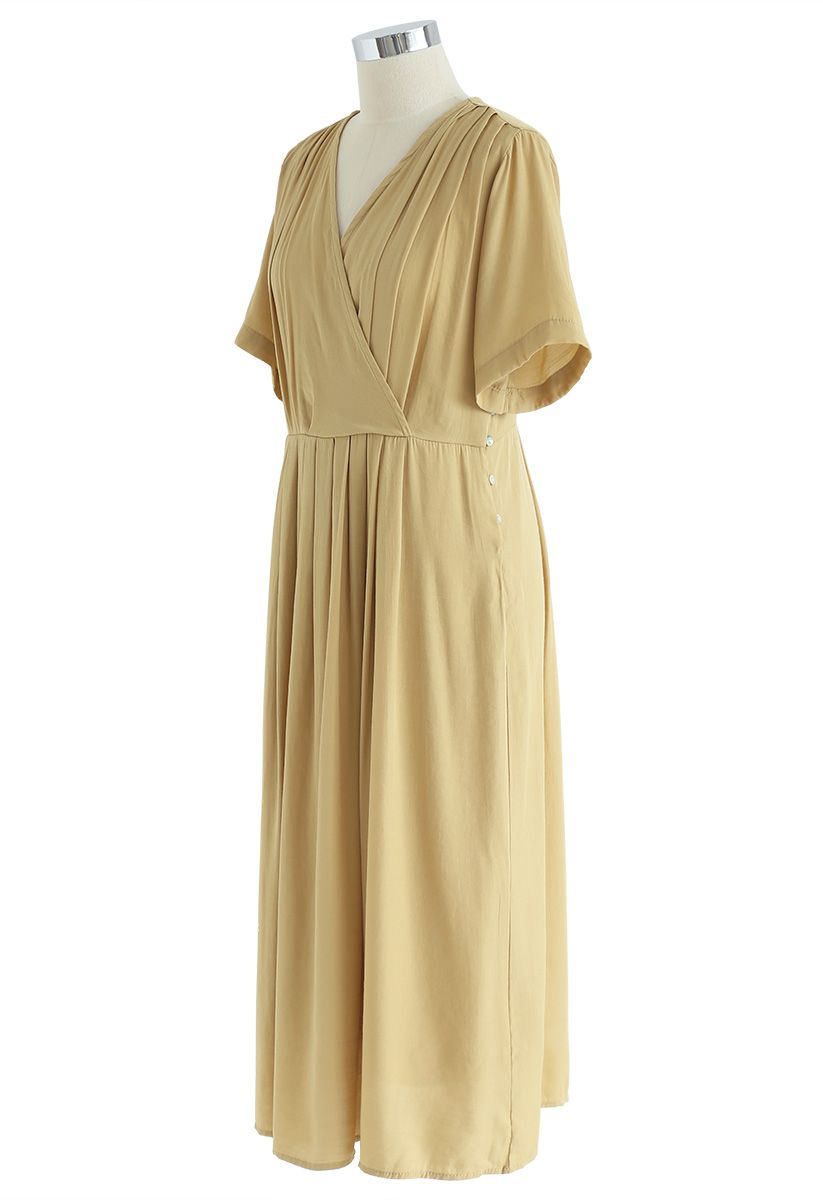 Just Luv Me Pleated Wrap Dress in Mustard