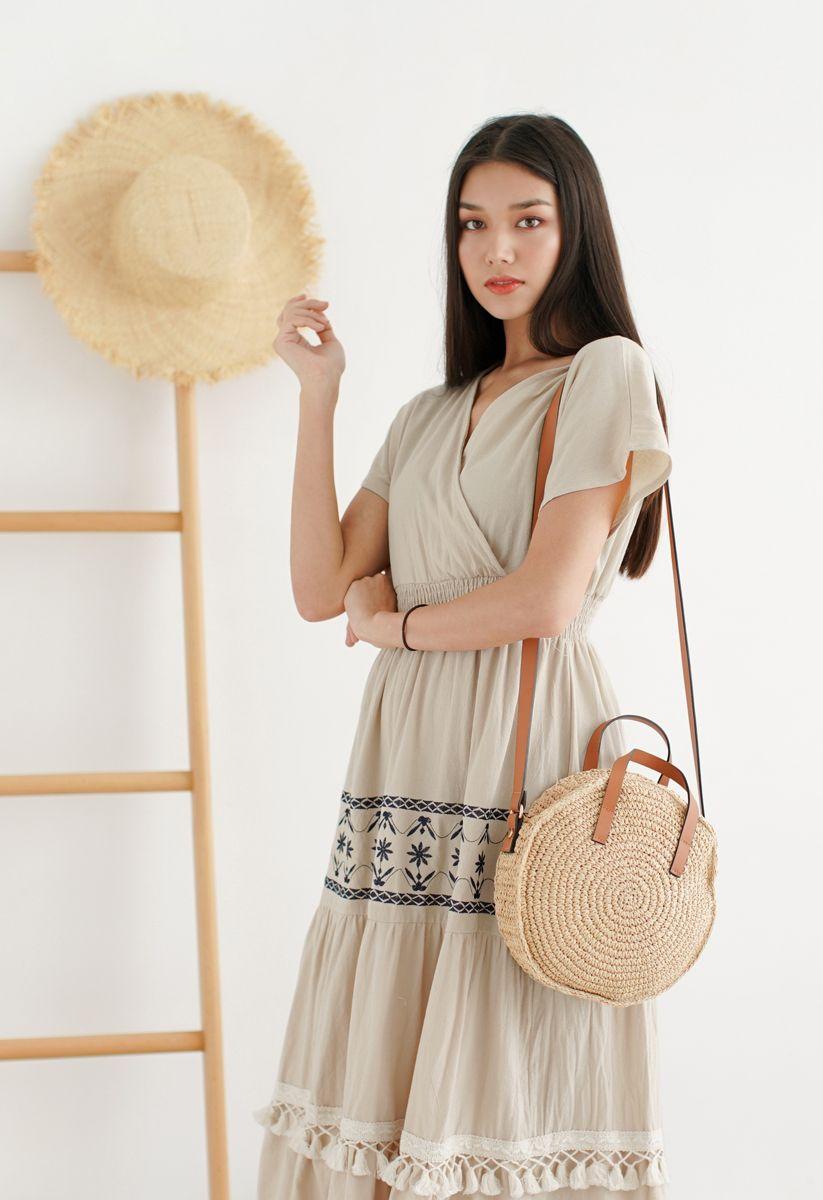 My Only Wish Boho Wrap Dress in Linen