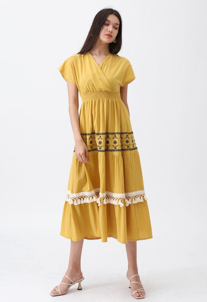 My Only Wish Boho Wrap Dress in Mustard
