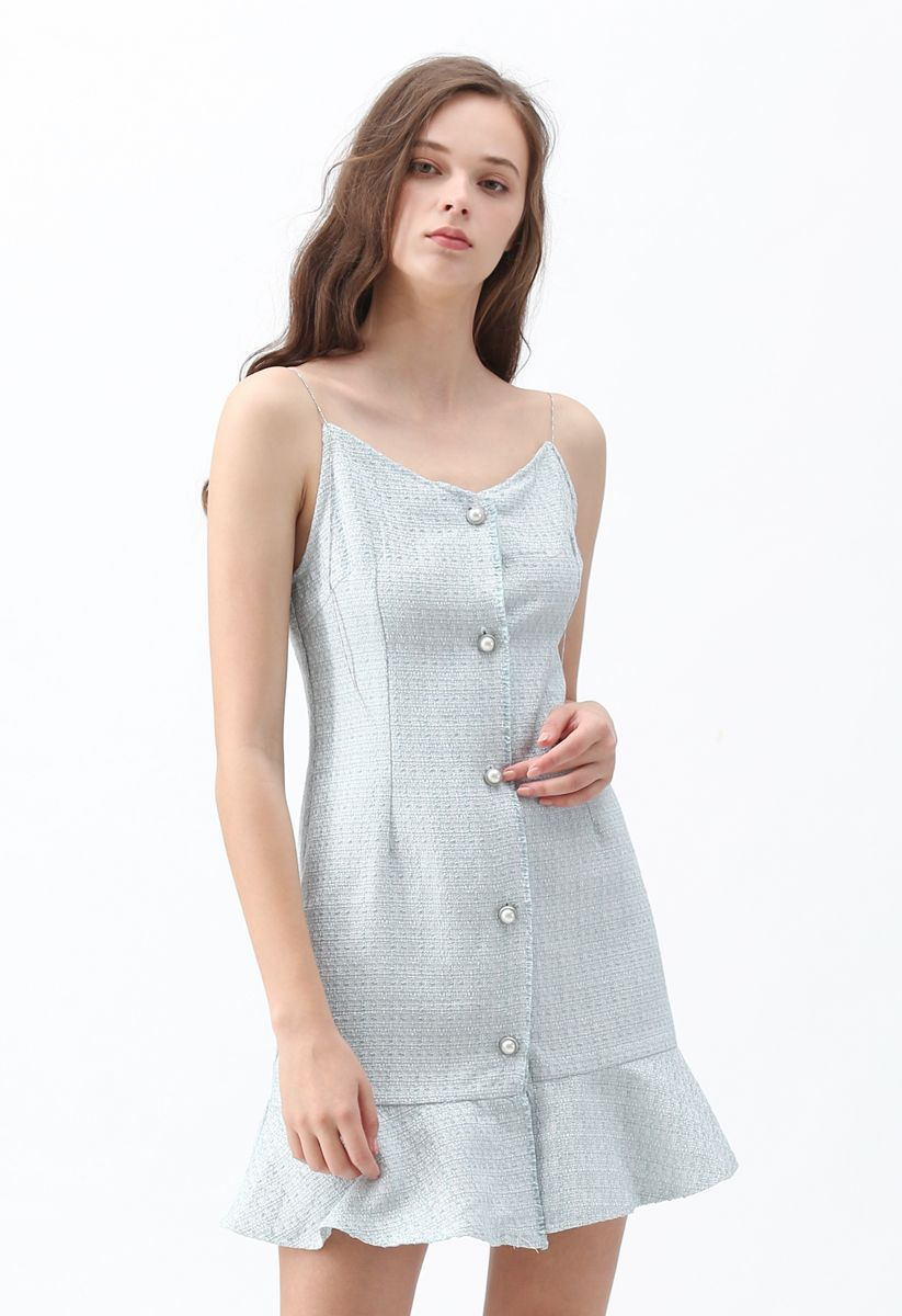 It's Gonna Be Tweed Cami Dress in Blue