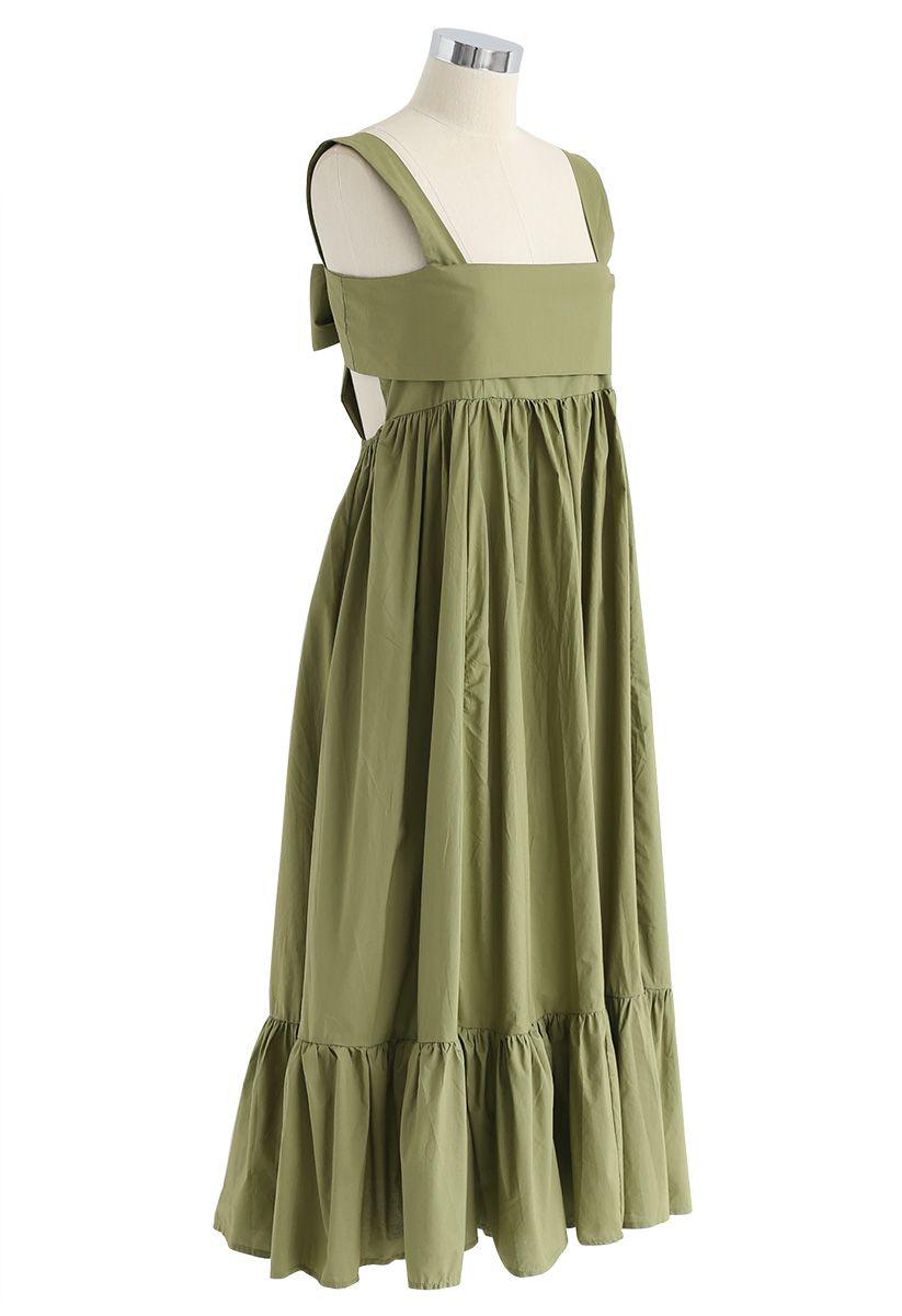 Joyful Aspects Backless Midi Dress in Army Green