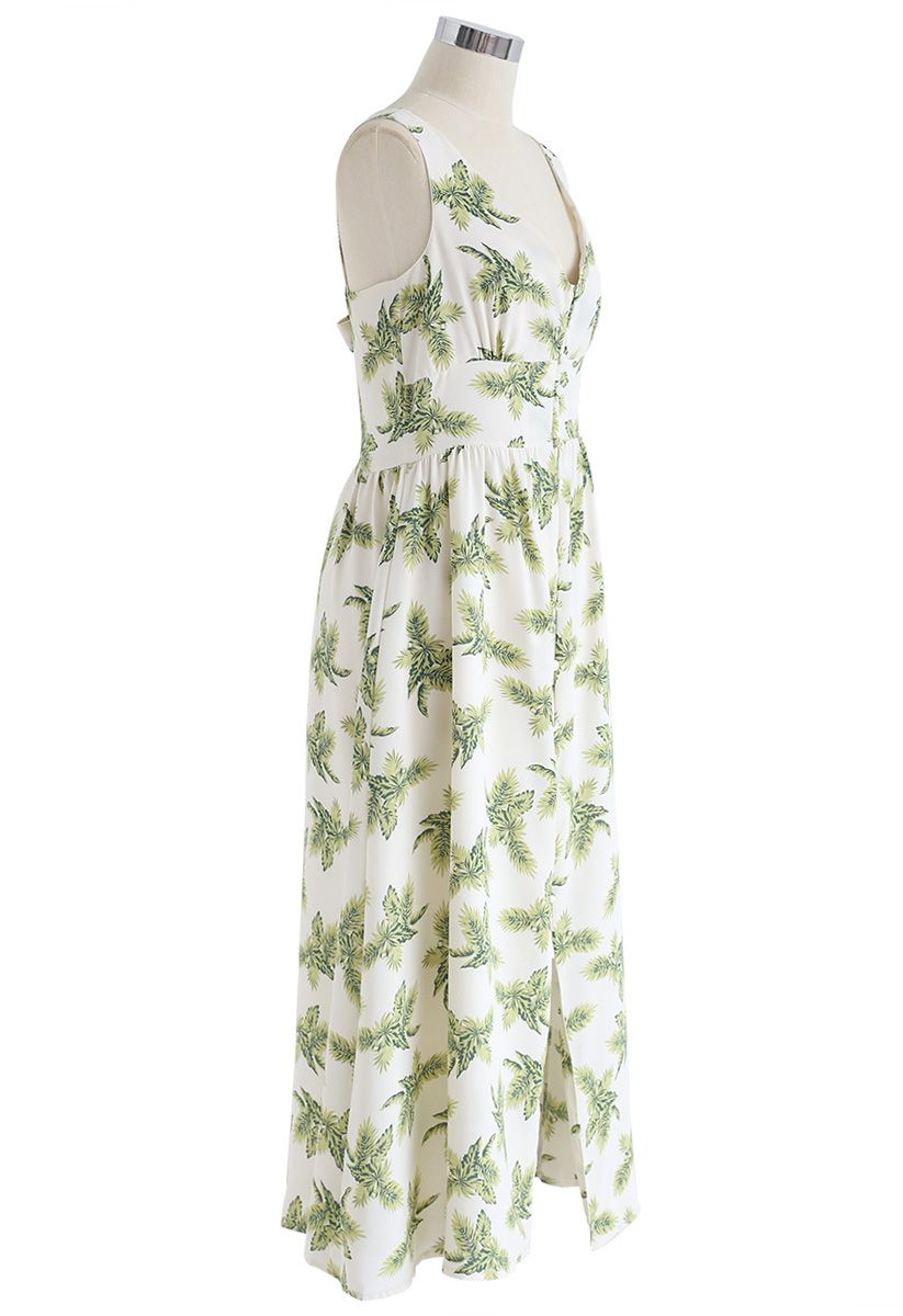Palm Relaxed Cutout Back Cami Dress in White