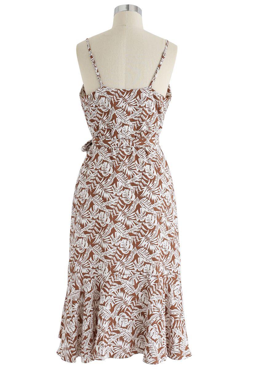 Palm Breeze Wrap Ruffle Cami Dress in Brown