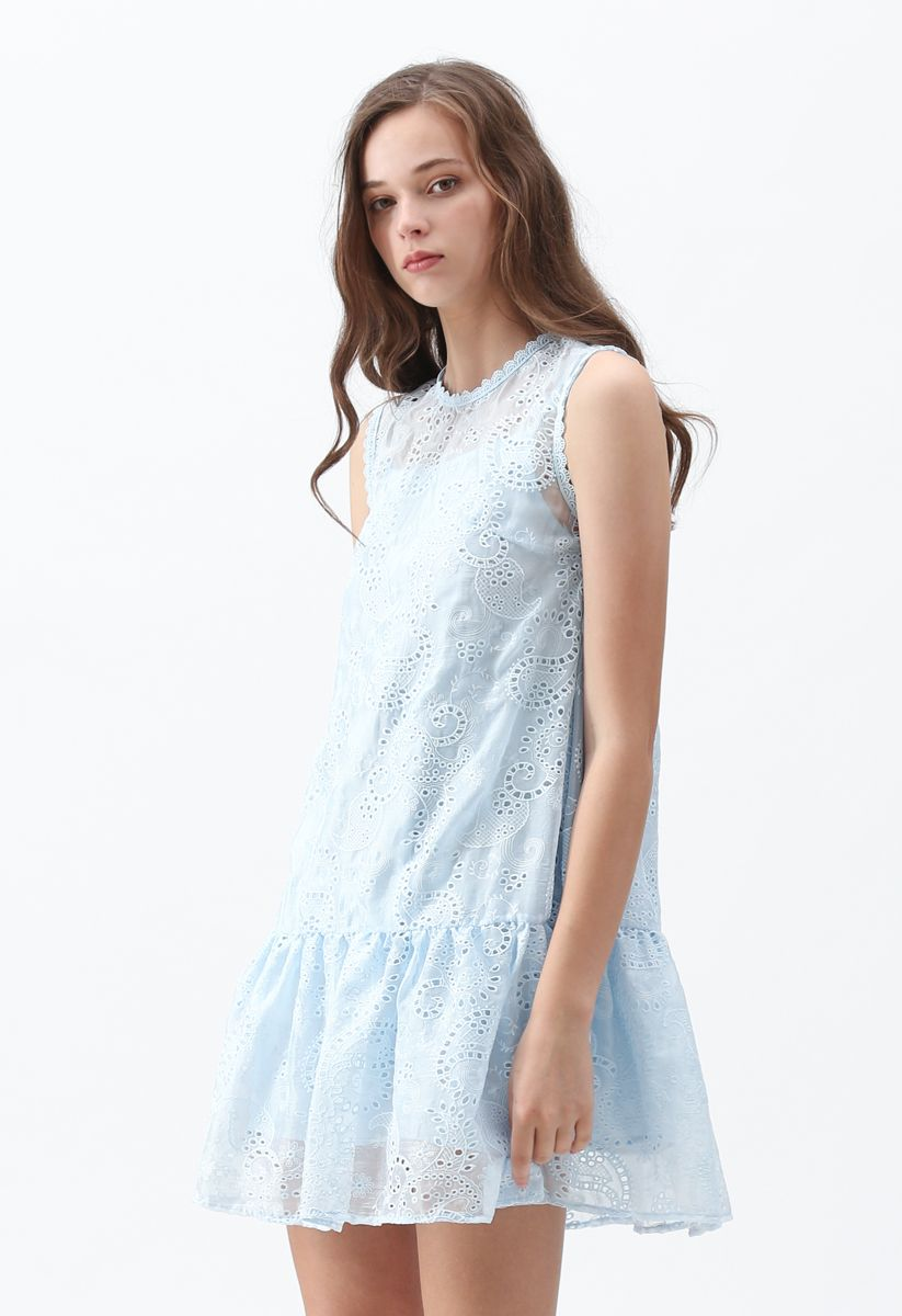 Windy Day Embroidered Sleeveless Dress in Blue
