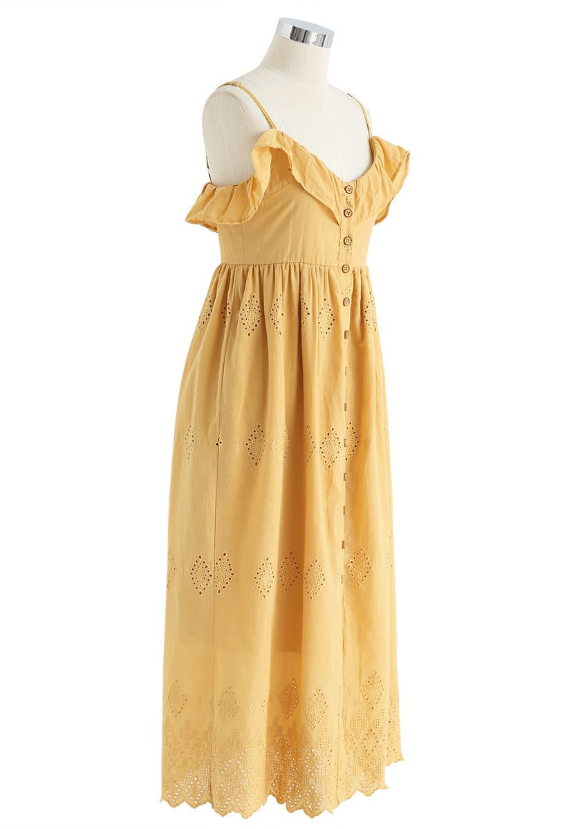 Lovely Day Embroidered Cami Dress in Mustard