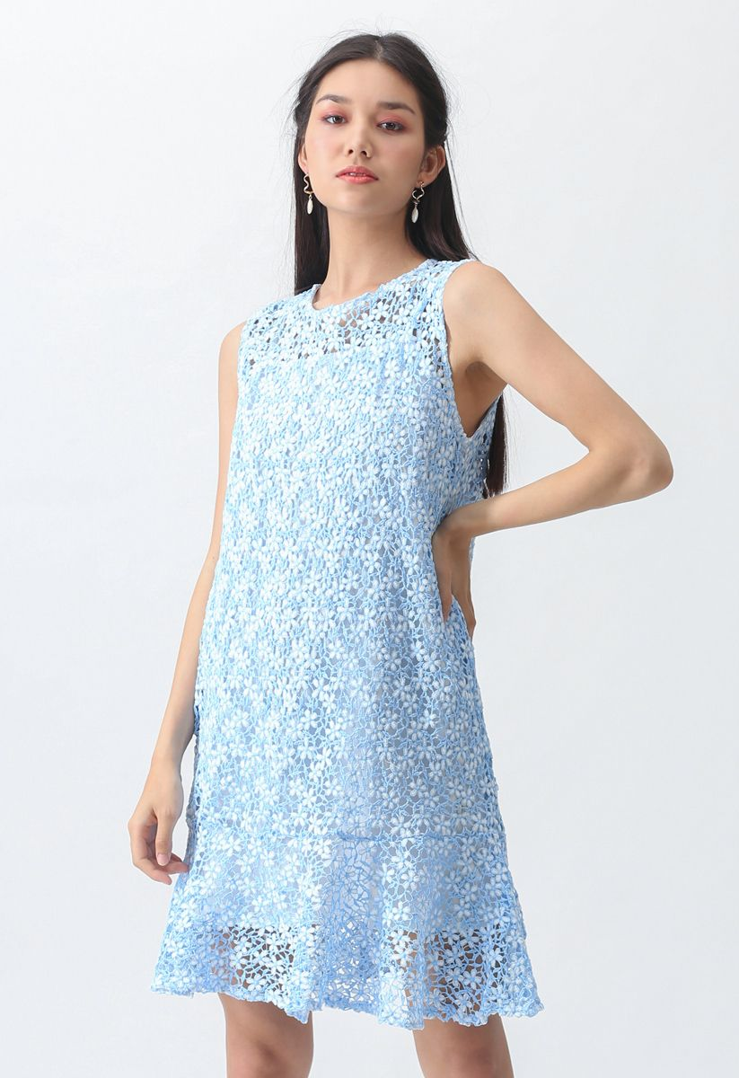 Brand New Love Crochet Sleeveless Dress in Blue