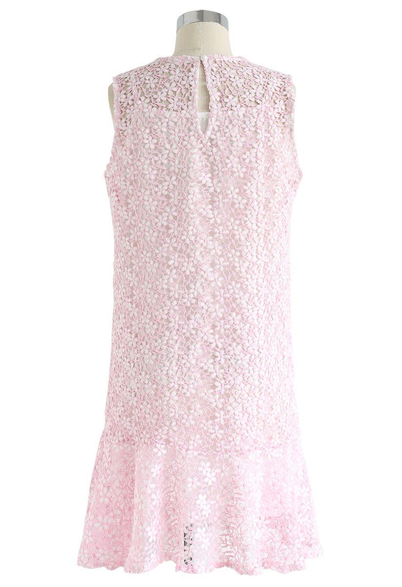 Brand New Love Crochet Sleeveless Dress in Pink