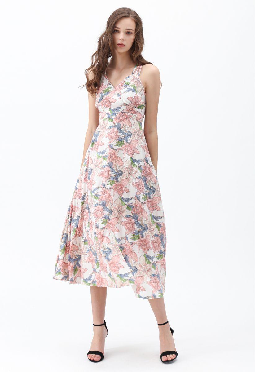 Perfect Sunday Lily Print Cross Back Cami Dress