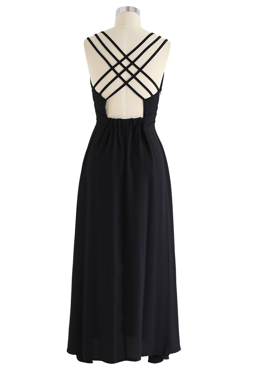 Perfect Sunday Cross Back Cami Dress in Black