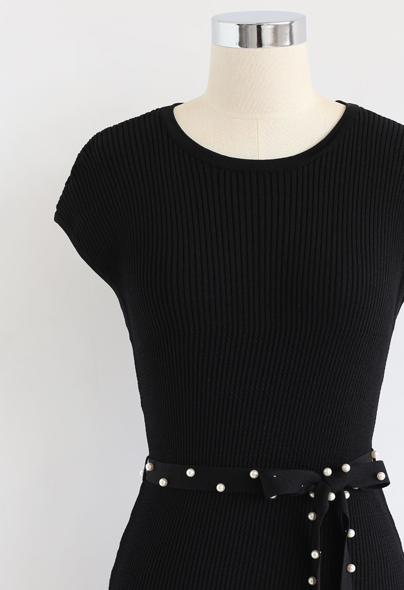 Staring At the Sunset Knit Dress in Black