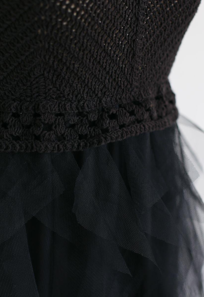 Knit Ruffled Mesh Cami Dress in Black